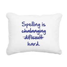 Spelling Is Hard Blue.png Rectangular Canvas Pillo