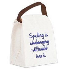 Spelling Is Hard Blue.png Canvas Lunch Bag