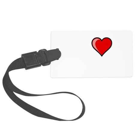 I Heart Reading Black.png Large Luggage Tag