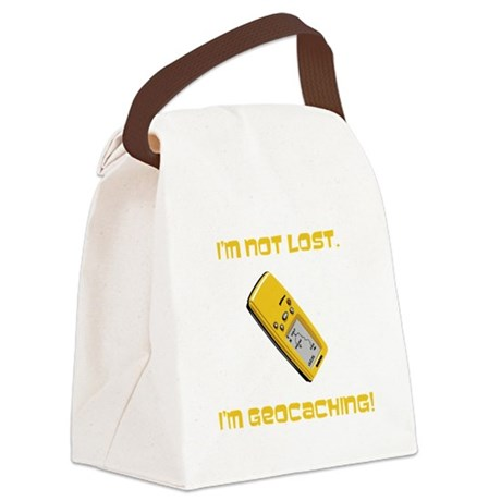 Not Lost Geocaching Yellow.png Canvas Lunch Bag