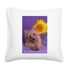 Sunflower Girl Square Canvas Pillow