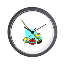 """Curling rocks with broom"" Wall Clock"