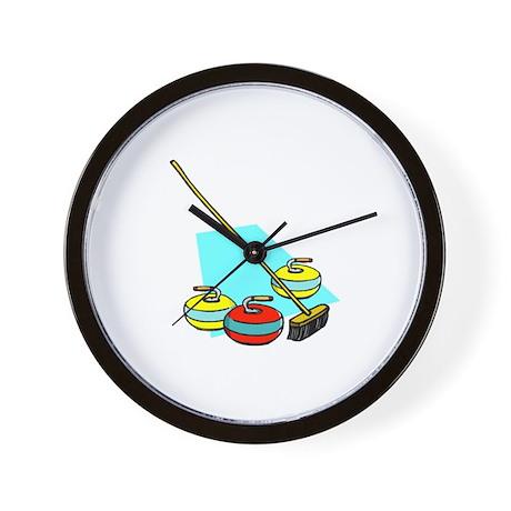 """Curling rocks with broom"" Wall Clock"