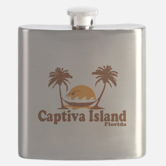 Captiva Island - Palm Trees Design. Flask
