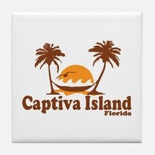 Captiva Island - Palm Trees Design. Tile Coaster
