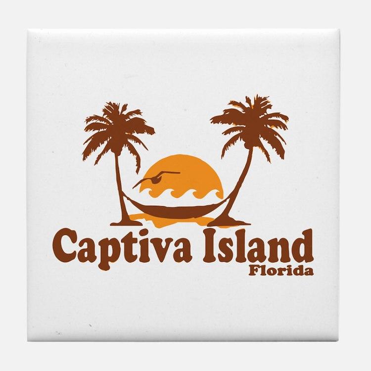 Captiva Island - Palm Trees Design. Tile Coaster