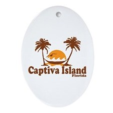 Captiva Island - Palm Trees Design. Ornament (Oval