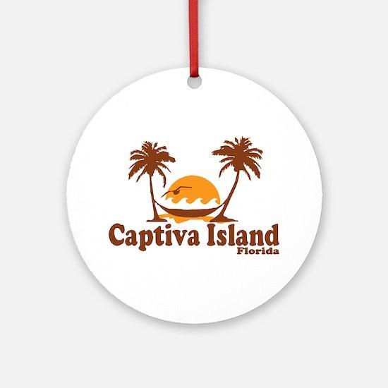 Captiva Island - Palm Trees Design. Ornament (Roun