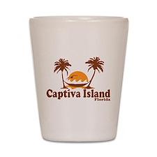 Captiva Island - Palm Trees Design. Shot Glass