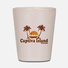 Captiva Island - Palm Trees Design. Shot Glass