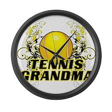 Tennis Grandma (cross).png Large Wall Clock