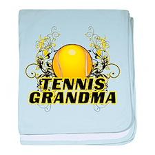Tennis Grandma (cross).png baby blanket