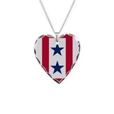 Blue Star Flag 2 Necklace Heart Charm