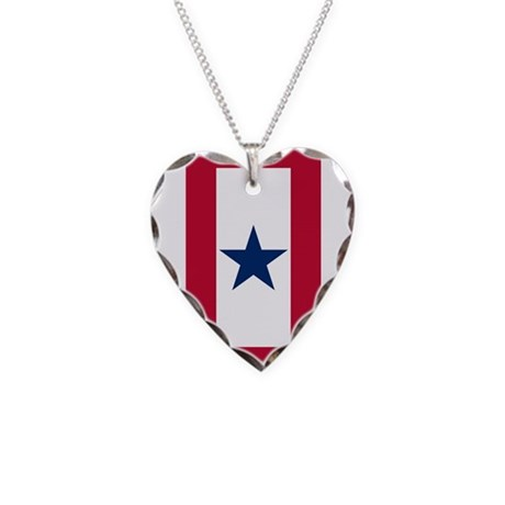 Blue Star Flag Necklace Heart Charm