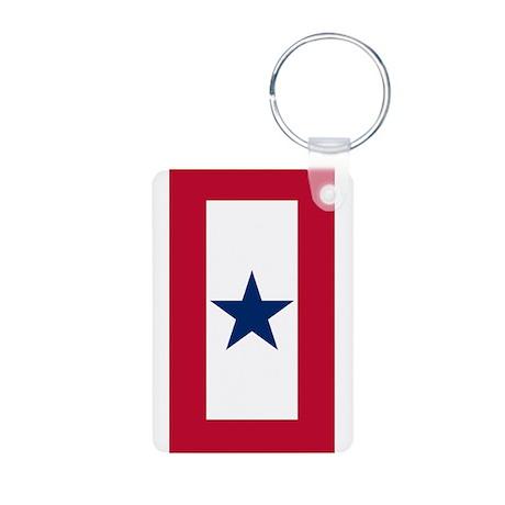 Blue Star Flag Aluminum Photo Keychain