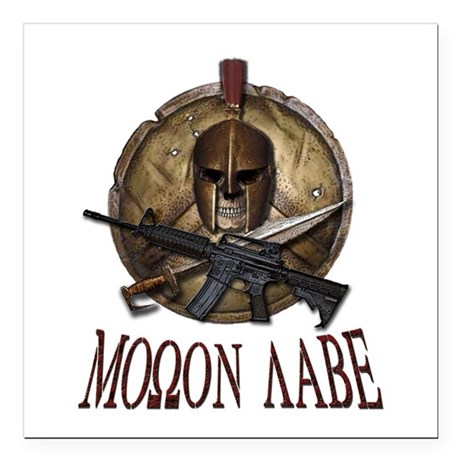 Molon Labe Spartan w Carbine 3 Square Car Magnet 3