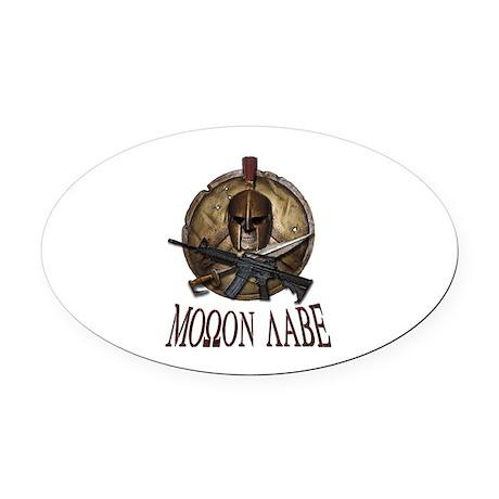 Molon Labe Spartan w Carbine 3 Oval Car Magnet