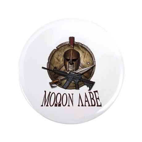 """Molon Labe Spartan w Carbine 3 3.5"""" Button (1"""