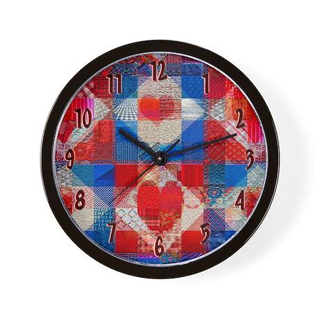 Red Heart Patchwork Quilt Wall Clock by nansphotoart