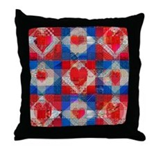 Red Heart Patchwork Quilt Throw Pillow