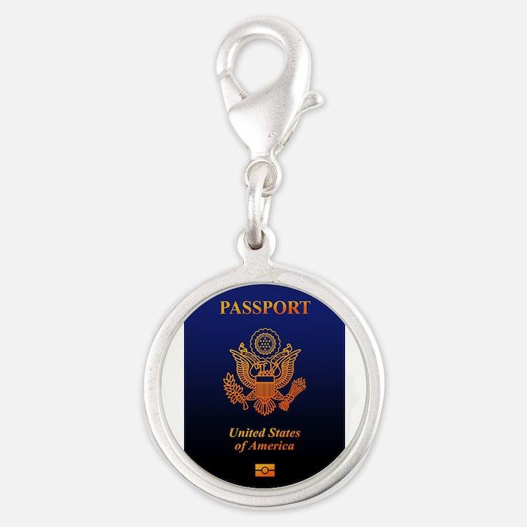 PASSPORT(USA) Silver Round Charm
