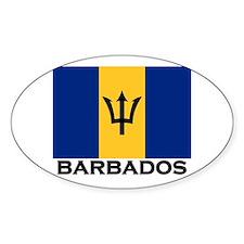 Barbados Flag Stuff Oval Decal