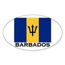Barbados Flag Stuff Oval Stickers
