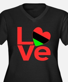 African American Love Women's Plus Size V-Neck Dar