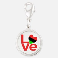 African American LOVE Silver Round Charm