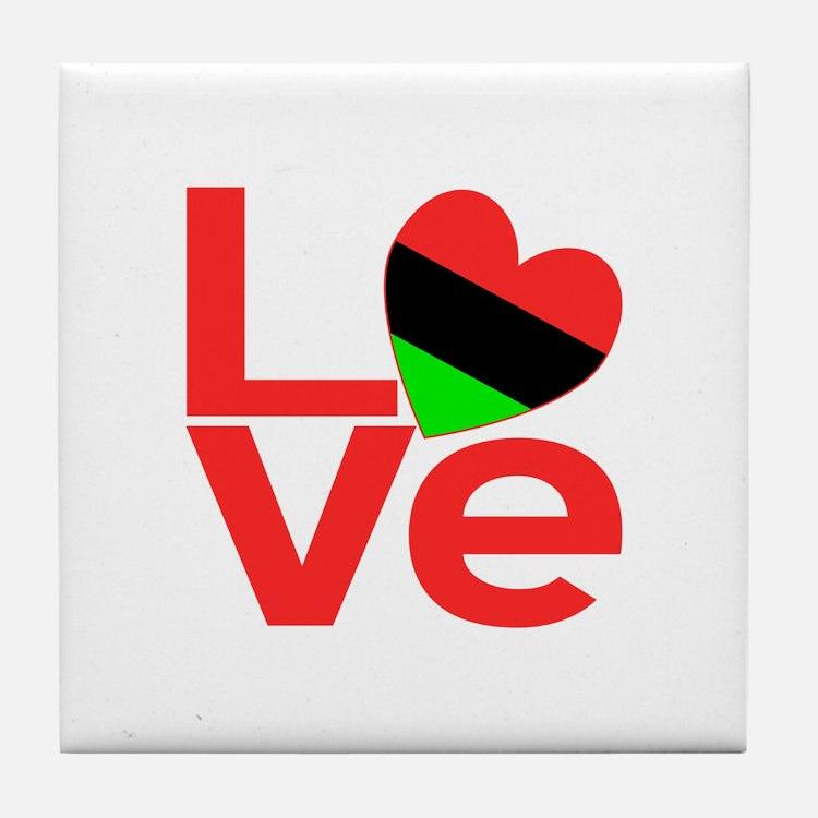 African American LOVE Tile Coaster