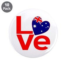 "Red Australian LOVE 3.5"" Button (10 pack)"