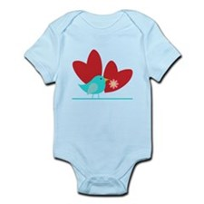 Cute Blue Bird and Hearts Infant Bodysuit