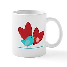 Cute Blue Bird and Hearts Mug