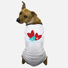Cute Blue Bird and Hearts Dog T-Shirt