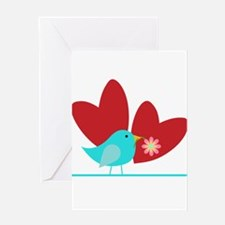Cute Blue Bird and Hearts Greeting Card