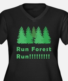 Run Forest Run Women's Plus Size V-Neck T-Shirt