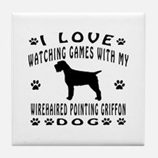 Wirehaired Pointing Griffon design Tile Coaster
