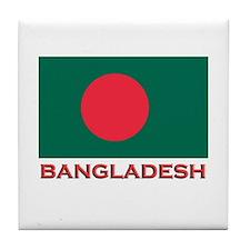 Bangladesh Flag Gear Tile Coaster