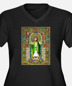 St. Patrick Women's Plus Size V-Neck Dark T-Shirt