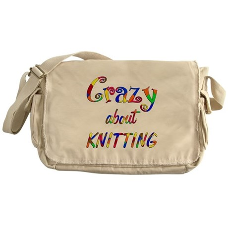 Crazy About Knitting Messenger Bag
