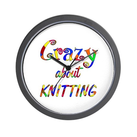 Crazy About Knitting Wall Clock