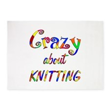 Crazy About Knitting 5'x7'Area Rug