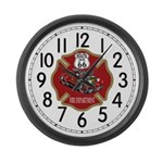 Route 66 Fire Dept Large Wall Clock