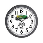 Cruising Route 66 Hot Rod Wall Clock
