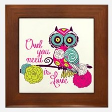 Owl you need is love Framed Tile