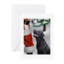 black lab and santa rectangle Greeting Cards