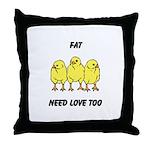 Fat Chicks Throw Pillow