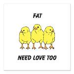 Fat Chicks Square Car Magnet 3