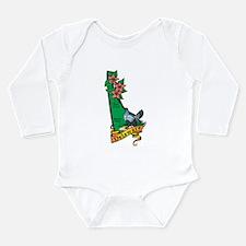 Delaware Map V Long Sleeve Infant Bodysuit