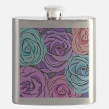 Abstract Colorful Roses Flask